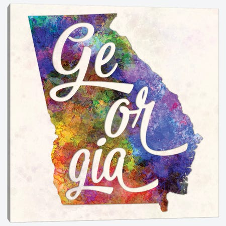 Georgia US State In Watercolor Text Cut Out Canvas Print #PUR275} by Paul Rommer Canvas Art