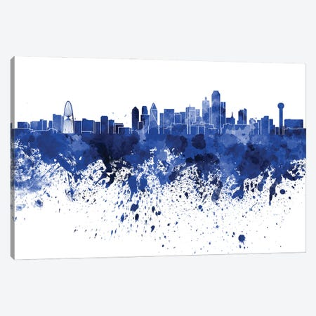 Dallas Skyline In Blue Canvas Print #PUR2782} by Paul Rommer Canvas Print