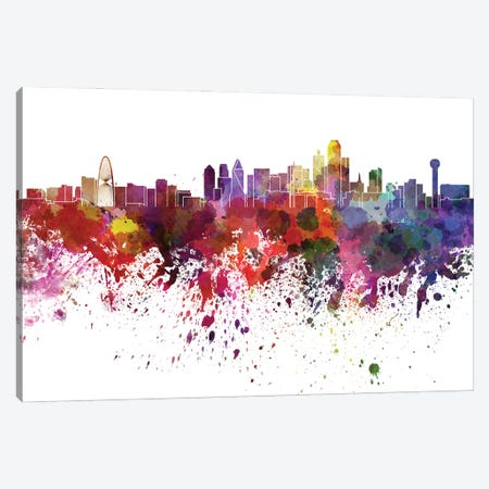 Dallas Skyline In Watercolor V-II Canvas Print #PUR2784} by Paul Rommer Canvas Art