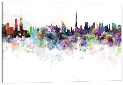 Dubai Skyline In Watercolor V-III Canvas Art Print