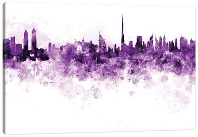 Dubai Skyline In Lilac Canvas Art Print