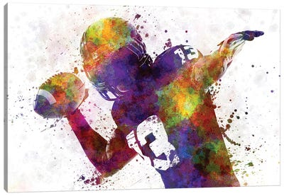 American Football Player Quarterback Passing Canvas Art Print