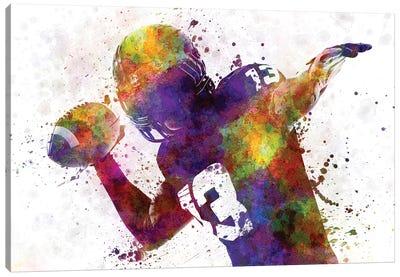 American Football Player Quarterback Passing Canvas Art Print