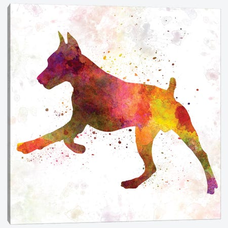 German Pinscher In Watercolor II Canvas Print #PUR280} by Paul Rommer Canvas Artwork