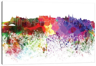 Edinburgh Skyline In Watercolor V-III Canvas Art Print