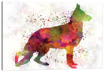 German Sherpherd Dog In Watercolor Canvas Art Print