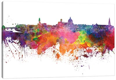 Florence Skyline In Watercolor V-II Canvas Art Print