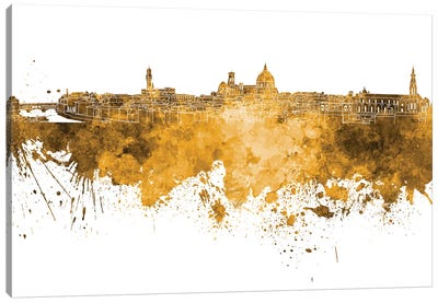 Florence Skyline In Yellow Canvas Art Print
