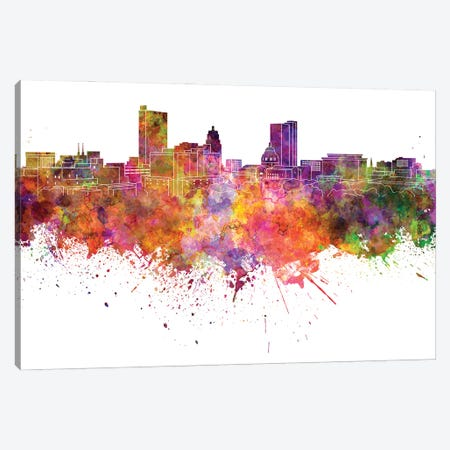 Fort Wayne Skyline Watercolor V-II Canvas Print #PUR2829} by Paul Rommer Canvas Artwork