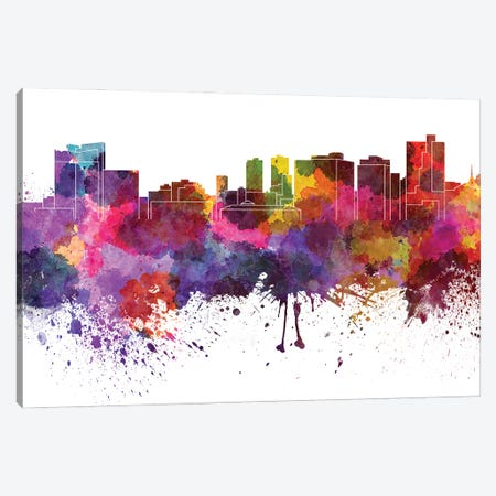 Fort Worth Skyline In Watercolor V-II Canvas Print #PUR2833} by Paul Rommer Canvas Art Print