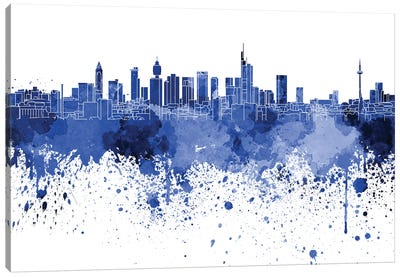 Frankfurt Skyline In Blue Canvas Art Print