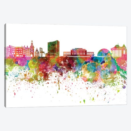 Geneva Skyline In Watercolor V-II Canvas Print #PUR2845} by Paul Rommer Canvas Print