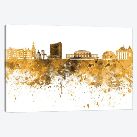 Geneva Skyline In Yellow Canvas Print #PUR2848} by Paul Rommer Canvas Artwork