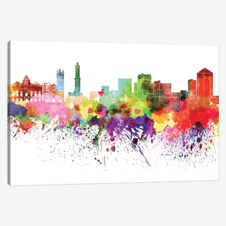 Genoa Skyline In Watercolor V-II Canvas Print #PUR2849} by Paul Rommer Canvas Wall Art