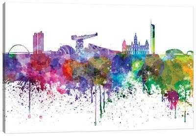 Glasgow Skyline In Watercolor V-II Canvas Art Print