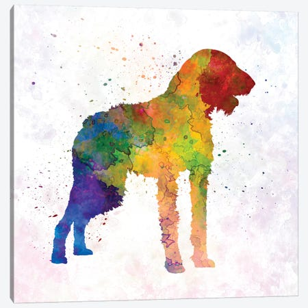 German Wirehaired Pointer In Watercolor Canvas Print #PUR285} by Paul Rommer Canvas Art Print