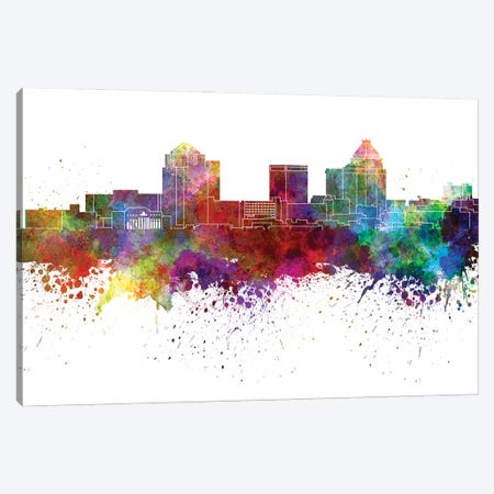 Greensboro Skyline In Watercolor V-II Canvas Print #PUR2869} by Paul Rommer Canvas Wall Art