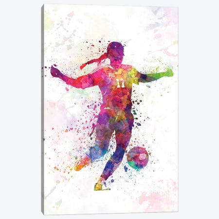 Girl Playing Soccer Silhouette I Canvas Print #PUR287} by Paul Rommer Canvas Print