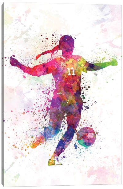 Girl Playing Soccer Silhouette I Canvas Art Print