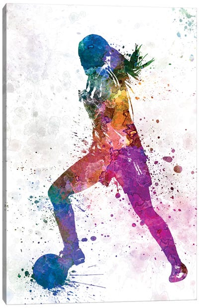 Girl Playing Soccer Silhouette II Canvas Art Print