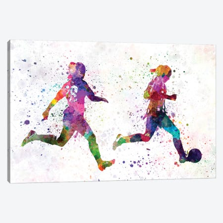 Girl Playing Soccer Silhouette III Canvas Print #PUR289} by Paul Rommer Canvas Wall Art