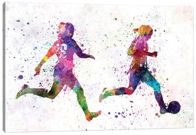 Girl Playing Soccer Silhouette III Canvas Art Print