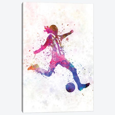 Girl Playing Soccer Silhouette IV Canvas Print #PUR290} by Paul Rommer Canvas Print