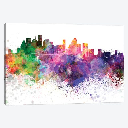 Houston Skyline In Watercolor V-II Canvas Print #PUR2913} by Paul Rommer Canvas Artwork