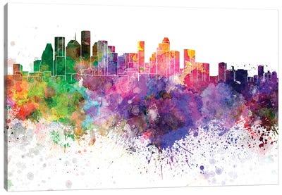Houston Skyline In Watercolor V-II Canvas Art Print