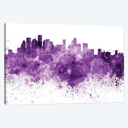 Houston Skyline In Lilac Canvas Print #PUR2915} by Paul Rommer Canvas Art Print