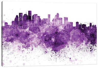 Houston Skyline In Lilac Canvas Art Print