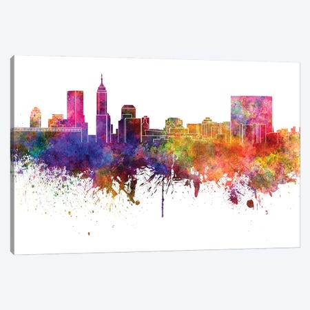 Indianapolis Skyline In Watercolor V-II Canvas Print #PUR2917} by Paul Rommer Canvas Art Print