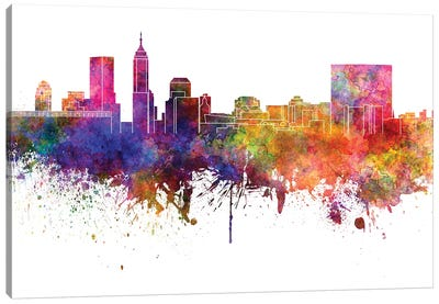 Indianapolis Skyline In Watercolor V-II Canvas Art Print