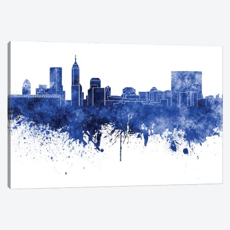 Indianapolis Skyline In Blue Canvas Print #PUR2918} by Paul Rommer Canvas Wall Art