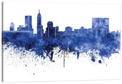 Indianapolis Skyline In Blue Canvas Art Print