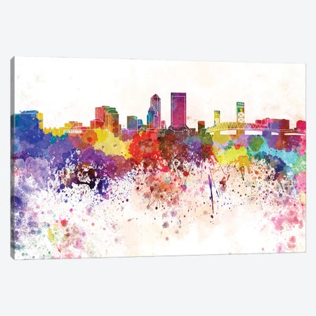 Jacksonville Skyline In Watercolor V-II Canvas Print #PUR2929} by Paul Rommer Canvas Print
