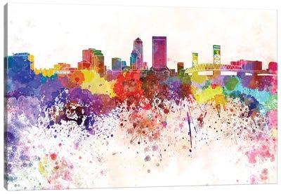 Jacksonville Skyline In Watercolor V-II Canvas Art Print