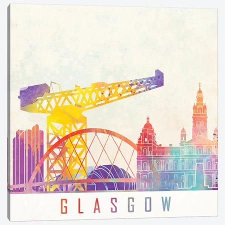 Glasgow Landmarks Watercolor Canvas Print #PUR292} by Paul Rommer Art Print