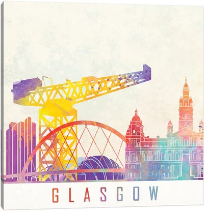 Glasgow Landmarks Watercolor Canvas Art Print