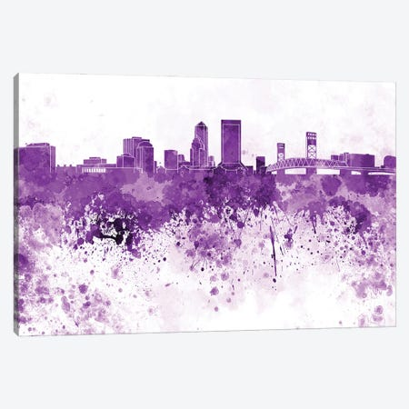 Jacksonville Skyline In Lilac Canvas Print #PUR2931} by Paul Rommer Canvas Art