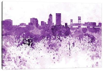 Jacksonville Skyline In Lilac Canvas Art Print
