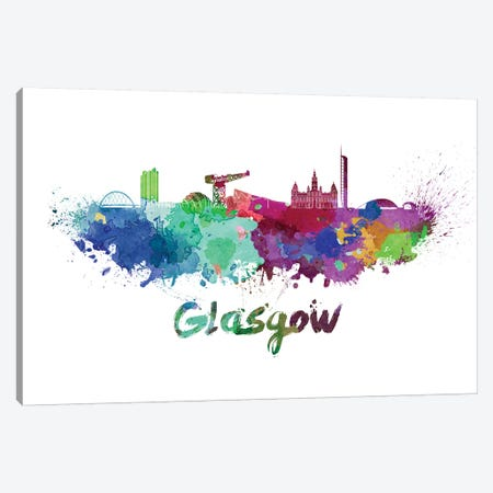 Glasgow Skyline In Watercolor Canvas Print #PUR293} by Paul Rommer Art Print