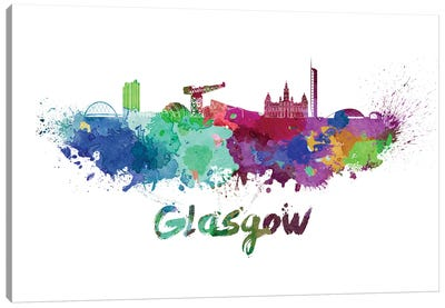 Glasgow Skyline In Watercolor Canvas Art Print