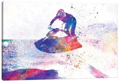 Jet Ski In Watercolor Canvas Art Print