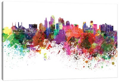 Kansas City Skyline In Watercolor Canvas Art Print