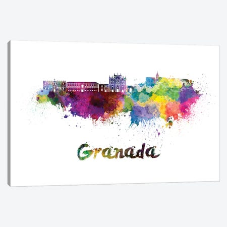 Granada Skyline In Watercolor Canvas Print #PUR297} by Paul Rommer Canvas Art