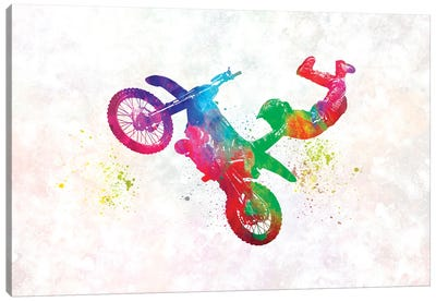 Motocross Rider In Watercolor Canvas Art Print
