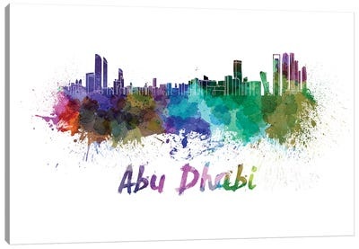Abu Dhabi Skyline In Watercolor Canvas Art Print