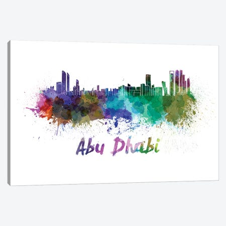 Abu Dhabi Skyline In Watercolor Canvas Print #PUR2} by Paul Rommer Canvas Artwork
