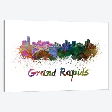 Grand Rapids Skyline In Watercolor Canvas Print #PUR300} by Paul Rommer Canvas Print